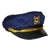 RTD-1343 - Deluxe Adult Navy Blue Yacht Captains Sailor Hat - Adjustable