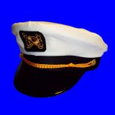 RTD-2682 - Economy White Yacht Navy Captains Sailor Hat