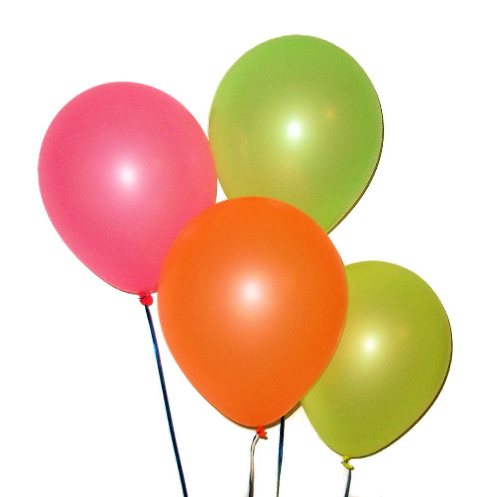 Assorted Neon Color Balloons - Large 12 inch