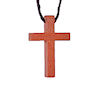 RTD-1094 - Wooden Cross Necklace - Christian Wood Cross w/cord