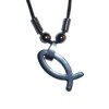 RTD-1260 - Hematite Christian Fish Symbol Ichthys Necklace