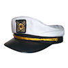 RTD-1342 - Deluxe Adult White Yacht Navy Captains Sailor Hat - Adjustable