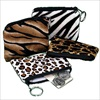RTD-1796 - Plush Safari Print Coin Purse Key Chains