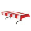 RTD-2542 - Red and White Striped 9 ft x 4.5 ft Plastic Table Cover