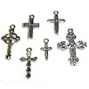 RTD-2664 - Small Ornate Metal Cross Charms for Crafts