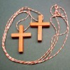 RTD-2715 - 2-pack Orange Wooden Cross Necklaces