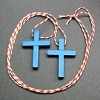 RTD-2721 - 2-pack Wooden Blue Cross Necklaces