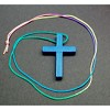 RTD-2728 - Light Blue Wood Cross Necklace
