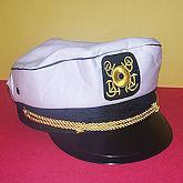 RTD-1289 - Economy White Yacht Cap - Navy Sailor Captains Hat