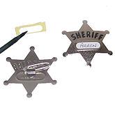 RTD-1308 - Metal Sheriff Star Name Tag Badge