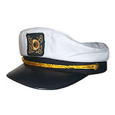 RTD-1342 - Deluxe Adult White Yacht Navy Captain Sailor Hat - Adjustable