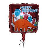 RTD-1514 - 21 inch Square Happy Birthday Dinosaur Mylar Balloon