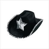 RTD-1792 - Black Felt Cowboy Hats With Silver Sequins