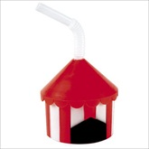 RTD-1813 - Plastic Circus Tent Cup w/Straw