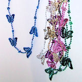 RTD-2374 - Butterfly and Flower Beaded Necklace