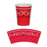RTD-2573 - 8-pk Western Party 9 oz Red Bandana Paper Cups