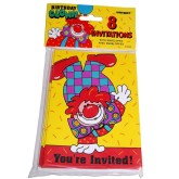 RTD-2602 - 8-pack Circus Clown Party Invitations w Envelopes
