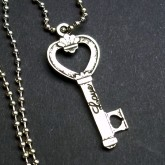RTD-2705 - Love Heart Key Charm 24 inch Chain Necklace