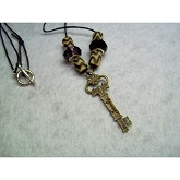RTD-2712 - Family Key Charm 24 inch Cord Necklace w/Beads