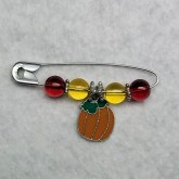 RTD-2724 - Thanksgiving Fall Pumpkin Charm Beaded Lapel Pin Brooch