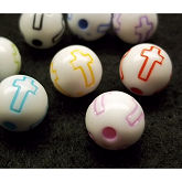 RTD-2745 - Round Plastic Resin Slider Beads with Christian Cross