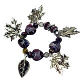 RTD-2755 - Fall Silver Leaf Purple Heart Stretchy Bracelet