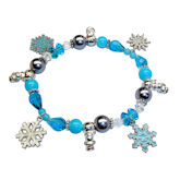 RTD-2779 - Winter Theme Snowman Beaded Snowflake Charm Bracelet