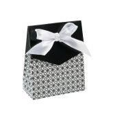 RTD-2802 - Small Cardboard Black Tent Favor Box w/ Bow