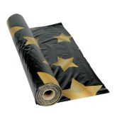 RTD-2885 - Roll of Black with Gold Stars Plastic Tablecloth 100 feet