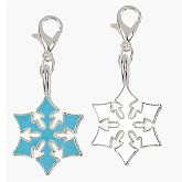 RTD-3255 - Blue and White 3/4 Inch Snowflake Charms on Lobster Claw Clasp