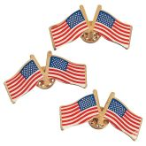 RTD-3317 - Metal Double USA Flag Pins