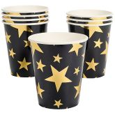 RTD-3413 - 8-pack of Gold Foil Star Paper Cups