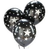 RTD-3415 - Silver Star Black Latex Balloons