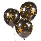RTD-3416 - Gold Star Black Latex Balloons