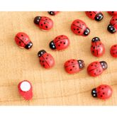 RTD-3619 - Wooden Stick-On Adhesive Back Ladybug Charms for Dollhouse Crafts