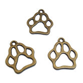 RTD-3647 - Animal Paw Print Metal Charms Antique Brass Finish