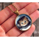 RTD-3673 - Kitten in Blue Jeans Pendant Necklace