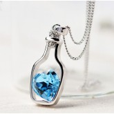 RTD-3675 - Bottle Framed Blue Crystal Heart Pendant Necklace