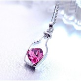 RTD-3676 - Bottle Frame Pink Crystal Heart Pendant Necklace