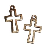 RTD-3679 - Christian Cross Cut-Out Metal Charms Antique Brass Finish