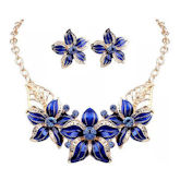 RTD-3741 - Blue Fashion Flowers Necklace and Earring Jewelry Set Blue/Gold