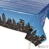 RTD-3757 - Plastic Superhero City Skyline Tablecloth
