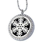 RTD-3777 - Essential Oils Aromatherapy Silver Snowflake Locket Necklace w/ Rhinestones