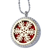 RTD-3778 - Aromatherapy Essential Oils Silver w/Gold Snowflake Rhinestones Locket Necklace