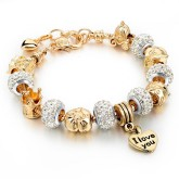 RTD-3846 - I Love You Royal Golden Charm Bracelet w/ Crystal Beads