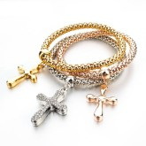RTD-3847 - Multilayer 3pc Gold Silver Copper Cross Fashion Bracelet