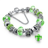 RTD-3853 - Green Crystal Charm Bracelet w/Flower Charms