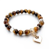 RTD-3856 - Tiger Eye Stone Bead White Heart Charm Bracelet