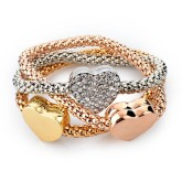 RTD-3858 - Three Heart Charm 3-Piece Gold Silver Fashion Bracelet