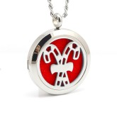 RTD-3859 - Christmas Candy Canes Aromatherapy Essential Oils Diffuser Stainless Steel Locket Necklace